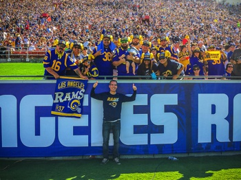 Mayor Garcetti at the LA Rams first home game at the Coliseum