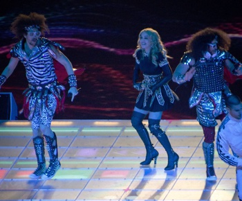 Madonna performing the Halftime Show with LMFAO, Super Bowl XLVI