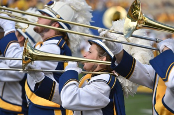 West Virginia Marching Band Performing at Halftime
